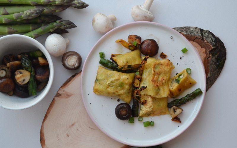 Maultaschen mit Spargel-Pilz-Füllung und Zitronenbutter