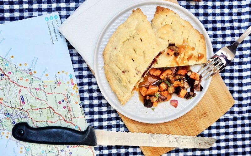 Cornish Pasty mit Süßkartoffeln, Roter Bete und Pilzen